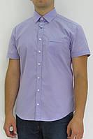 Рубашка мужская Davanti,сиреневая.Короткий рукав,приталенный силуэт,декоративная вставка на спине. Разм.M-XXL.