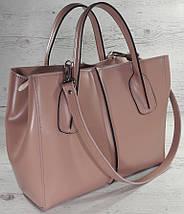 53-2 Натуральная кожа Сумка женская кожаная розовая сумка Сумка из натуральной кожи розовая Женская сумка, фото 3