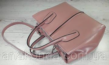 53-2 Натуральная кожа, Сумка женская, розовая пудра (пудровая), фото 2