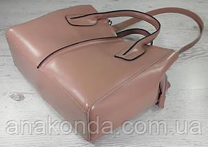 53-2 Натуральная кожа, Сумка женская, розовая пудра (пудровая), фото 3