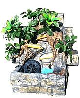 Фонтан подсветка  настольный подвесной декоративный Пейзаж деревья бамбук мельница 35=35=16