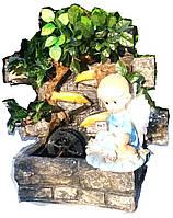 Фонтан Ангел настольный подвесной декоративный Пейзаж деревья бамбук подсветка мельница 35=35=16