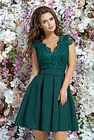 """Платье """"Bety"""" вечернее с декольте летнее с гипюром, зеленое"""