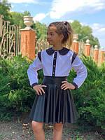 """Прекрасная блузка с вставками """"горошек"""" девочке, фото 1"""