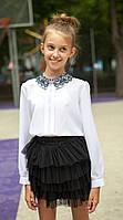 Блузка Свит блуз  с кружевным воротником мод. 8025 р.164, фото 1