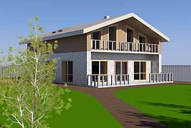Мы разработали проект коттеджа типа Шале в Киевской области.  Общая площадь 200м2.