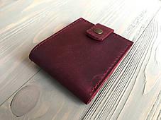 Кожаный женский кошелек ручной работы Goose™ Molle бордовый на хлястике, фото 3