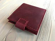 Кожаный женский кошелек ручной работы Goose™ Molle бордовый на хлястике, фото 2