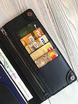 Кожаное портмоне ручной работы Goose™ Сlassic Zipper черный (тревел-кейс), фото 2