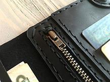 Кожаное портмоне ручной работы Goose™ Сlassic Zipper черный (тревел-кейс), фото 3