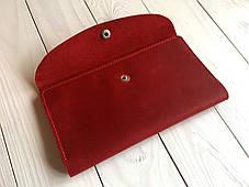 Портмоне кожаное женское Goose™ G0014 натуральная кожа красный (кошелек, тревел-кейс), фото 3