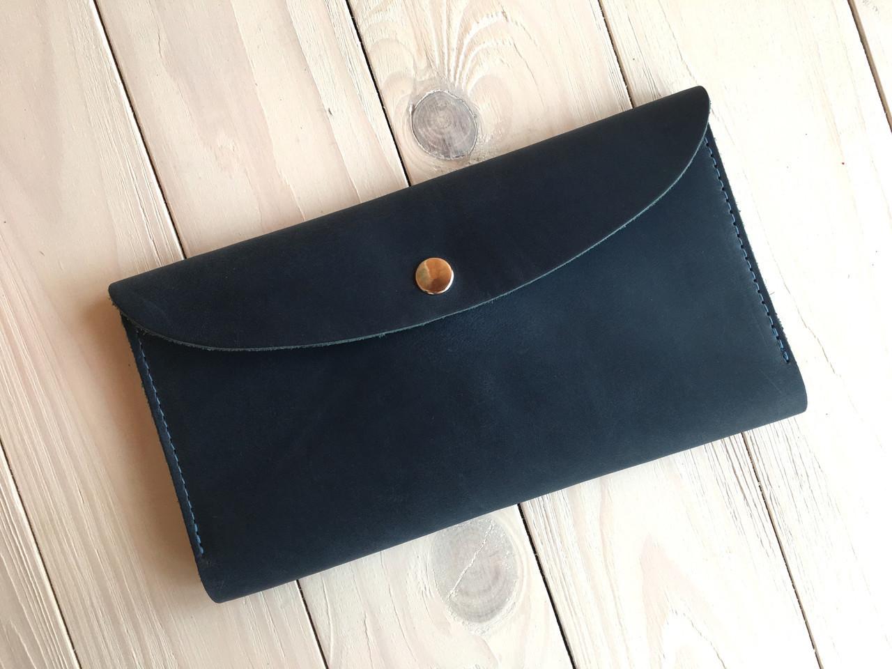 Кожаный женский кошелек ручной работы Goose™ G0015 голубой (портмоне, тревел-кейс)