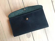 Кожаный женский кошелек ручной работы Goose™ G0015 голубой (портмоне, тревел-кейс), фото 2