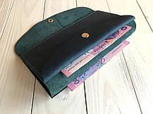 Кожаный женский кошелек ручной работы Goose™ G0015 голубой (портмоне, тревел-кейс), фото 3