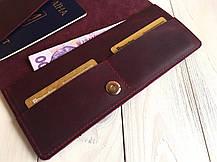 Кожаный кошелек-тревелер Goose™ G0017 бордовый (холдер для документов), фото 3