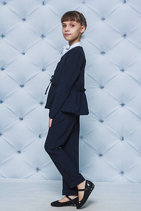 Школьная форма для девочки пиджак и брюки темно-синий, фото 2