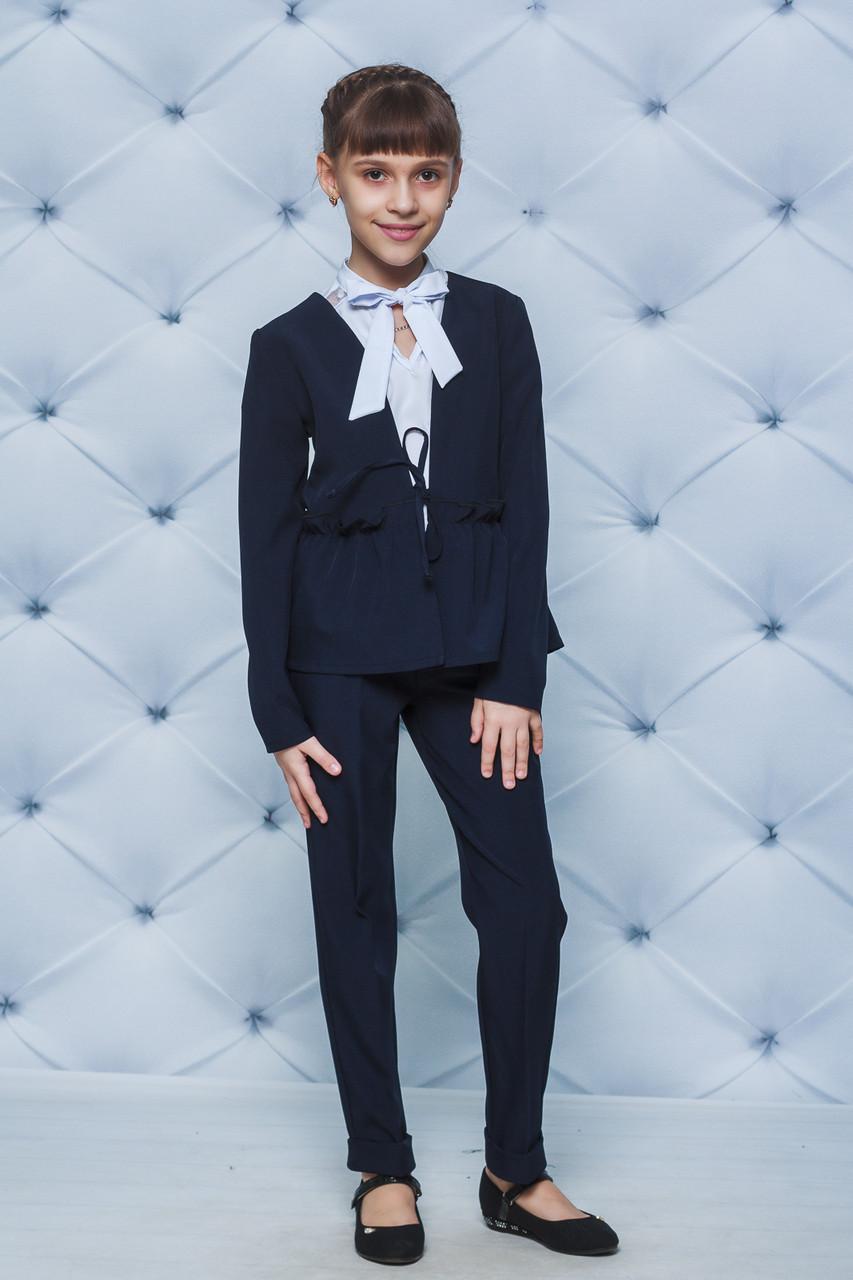 Школьная форма для девочки пиджак и брюки темно-синий