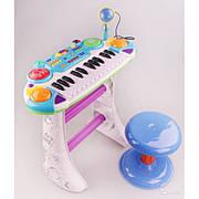 Детское пианино-синтезатор 7235 с микрофоном на ножках со стульчиком синее - 53 см, запись, свет, 24 клавиши