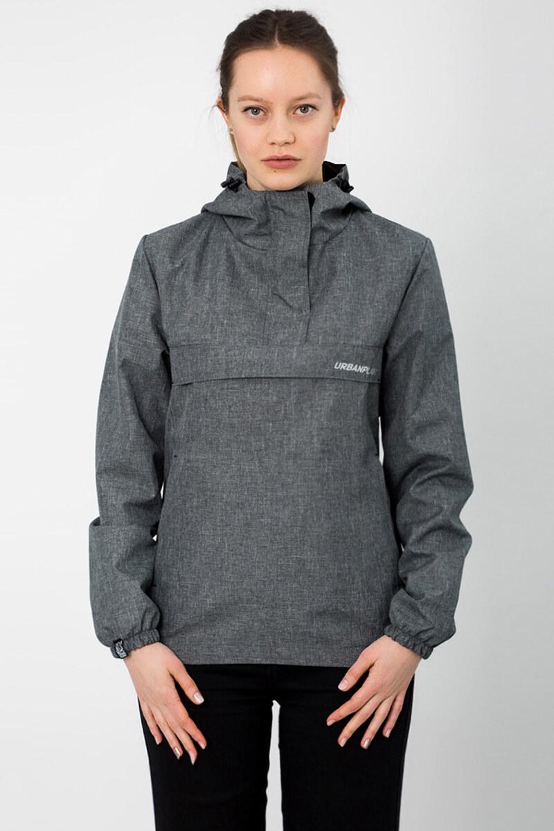 Меланжевая куртка анорак урбан пленет с капюшоном