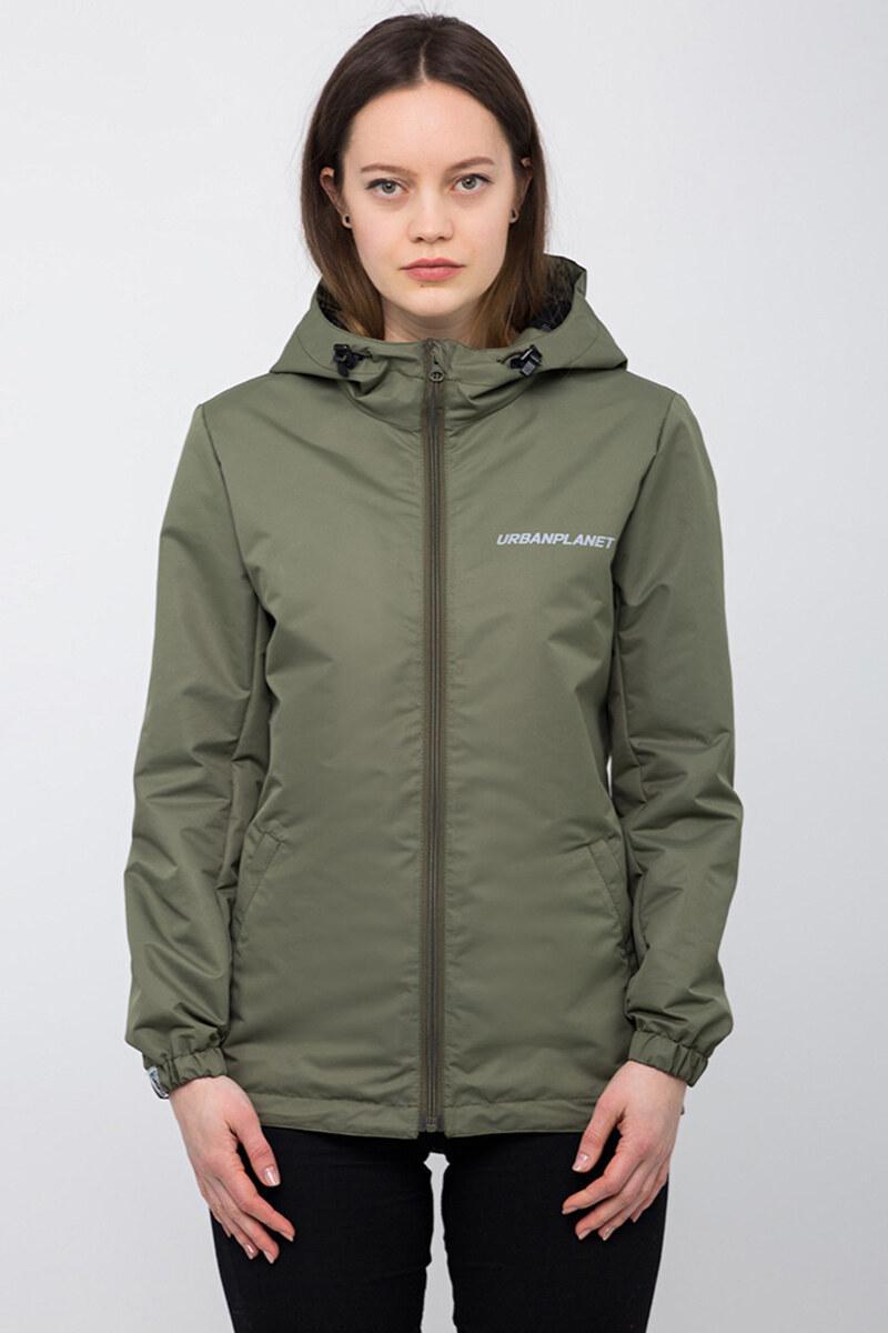 Куртка ветровка урбан пленет с капюшоном болотного цвета