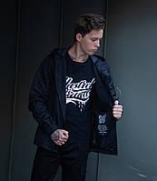 """Стильная мужская демисезонная не промокаемая парка """"Hawk jacket"""" полностью черная - M, L, XL"""