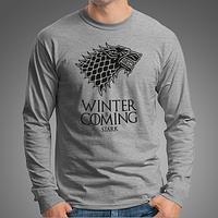 """0017-LS-GM Мужская футболка-лонгслив """"Winter Is Coming"""" (Испания). Меланж"""