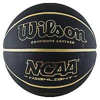 Мяч баскетбольный Wilson NCAA Hightlight 295 размер 7 композитная кожа для игры зал-улица (WTB067519XB07)
