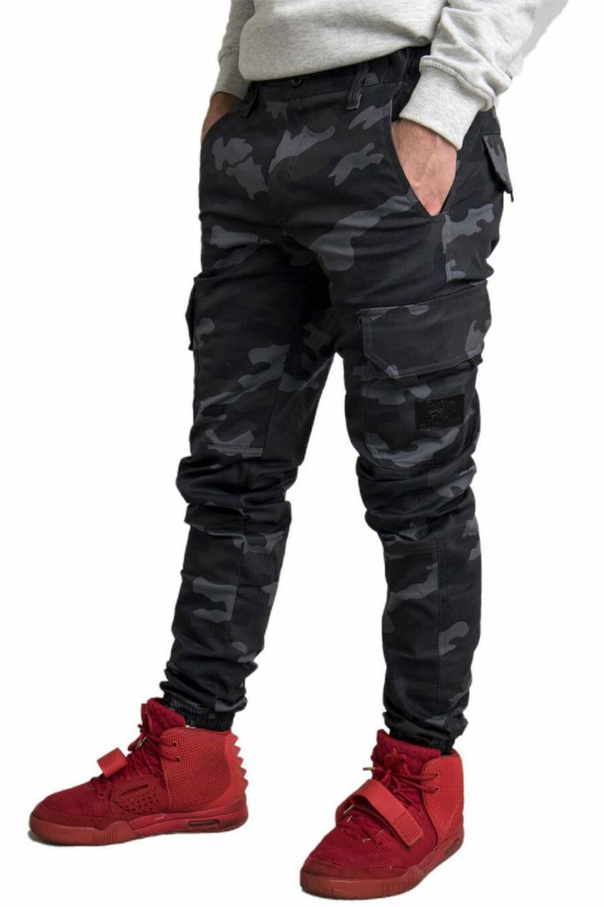 Хлопковые штаны карго в камуфляж с боковыми карманами