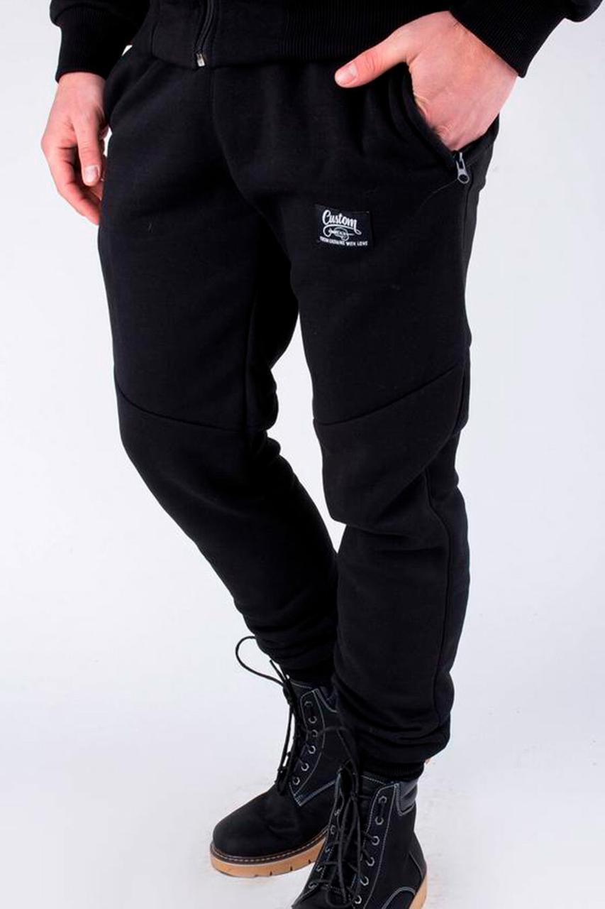 Черные хлопковые штаны спортивки на манжетах