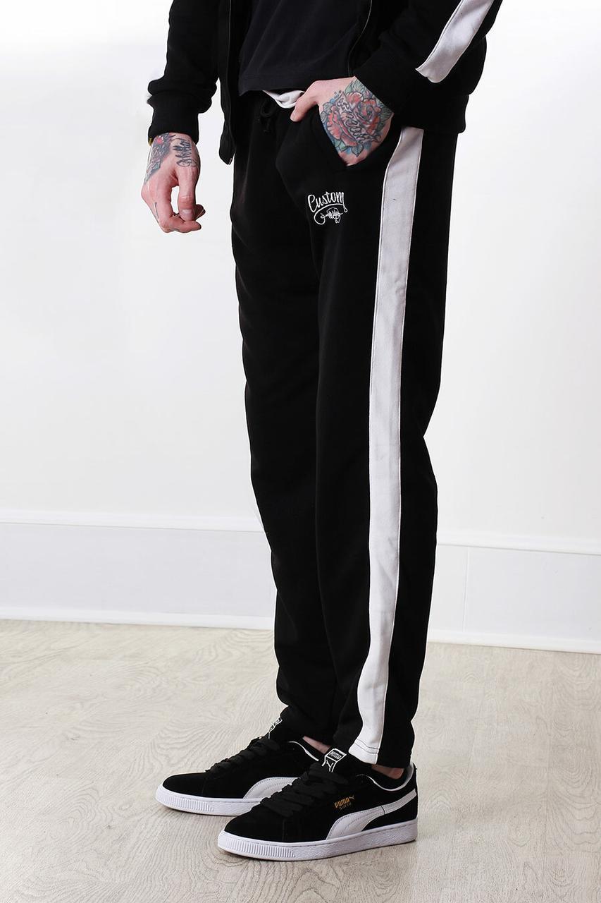 Черные хлопковые штаны спортивки с белыми лампасами