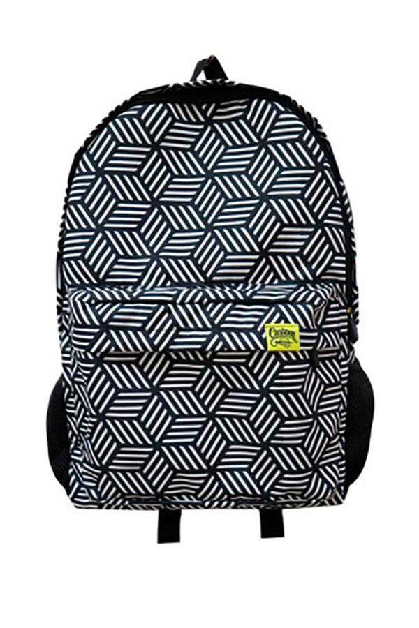Городской рюкзак с внешним карманом в геометрический принт