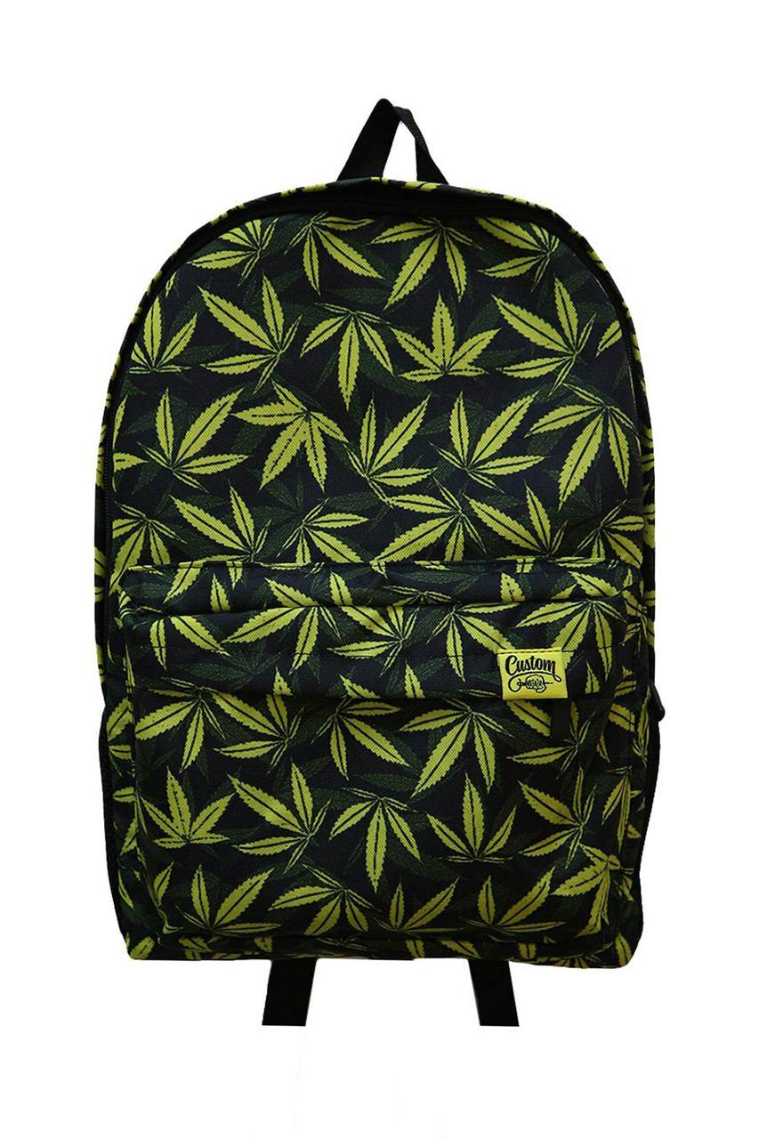 Городской рюкзак с внешним карманом в принт конопля