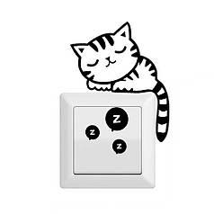 """Наклейка на стену, виниловые наклейки, украшения стены наклейки """"спящий Кот на выключатель, розетки"""" (13*9см)"""