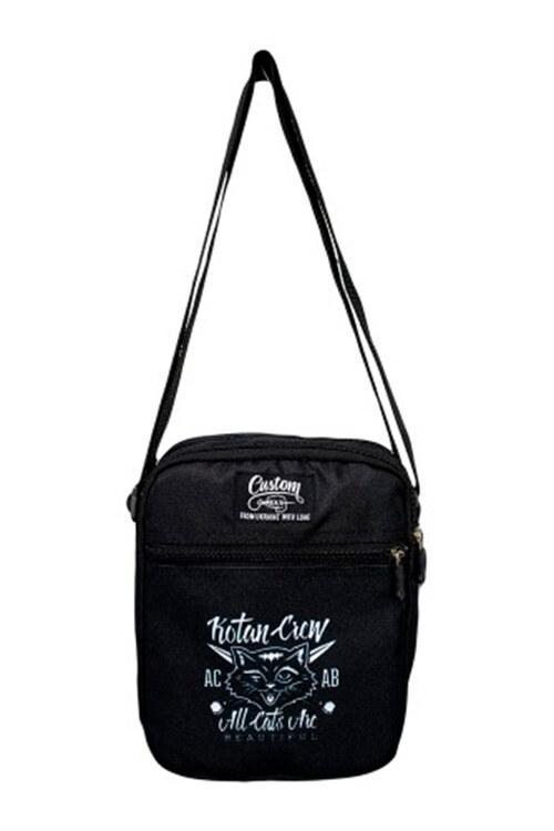 Черная сумка через плечо мессенджер с белым принтом