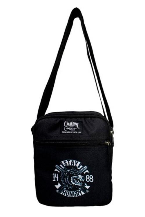Черная сумка через плечо мессенджер