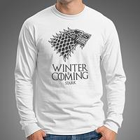 """0017-LS-WH Мужская футболка-лонгслив """"Winter Is Coming"""" (Испания). Белая"""
