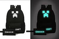 Рюкзак светящийся в темноте Minecraft Майнкрафт Крипер с пеналом в подарок