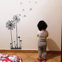 Виниловая наклейка на стену «Одуванчики, декоративная, интерьерная.