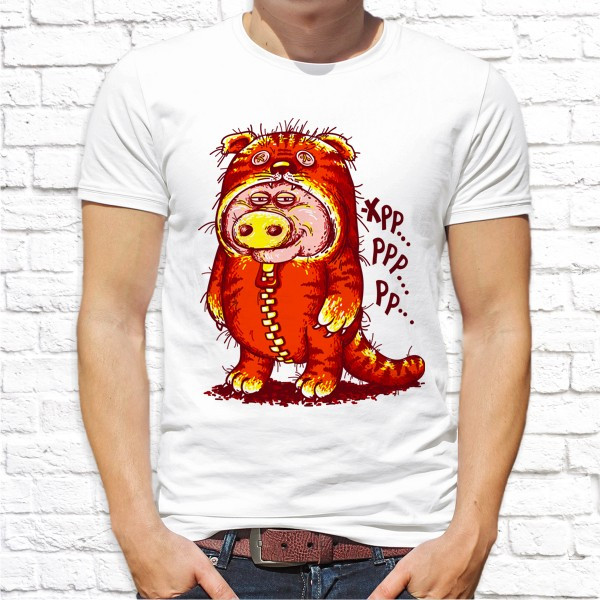 Мужская футболка с принтом Свинья в костюме Push IT