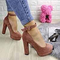 Туфли женские Taffi пудровые на каблуках 1243