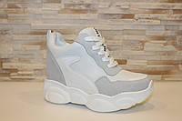 Сникерсы кроссовки женские белые с серым на липучках Т297