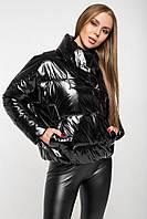 Осіння куртка oversize лакова CANDY чорна