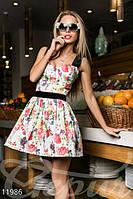 Летнее женское платье с пышной юбкой на бретелях застежка потайная молния сбоку джинс бархат