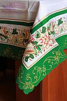 Скатерть новогодние колокольчики 150х220. Цвет зеленый, фото 1