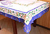 Скатерть новогодние колокольчики 150х220. Цвет синий