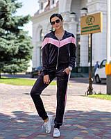 Спортивный костюм женский велюровый на змейке, черный