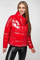 Осіння куртка oversize лакова CANDY червона