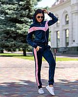 Спортивный костюм женский велюровый на змейке, синий