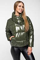 Осіння куртка oversize лакова CANDY хакі, фото 1