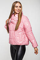 Осіння куртка oversize лакова CANDY рожева